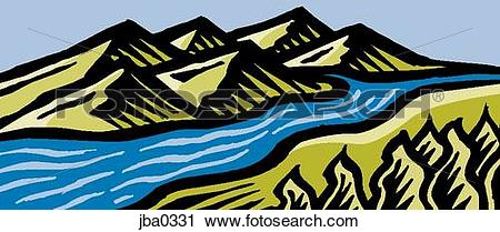 Clipart of flowing river jba0331.