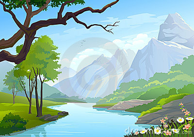 A Flowing River With A Mountain Backdrop Royalty Free Stock Photo.