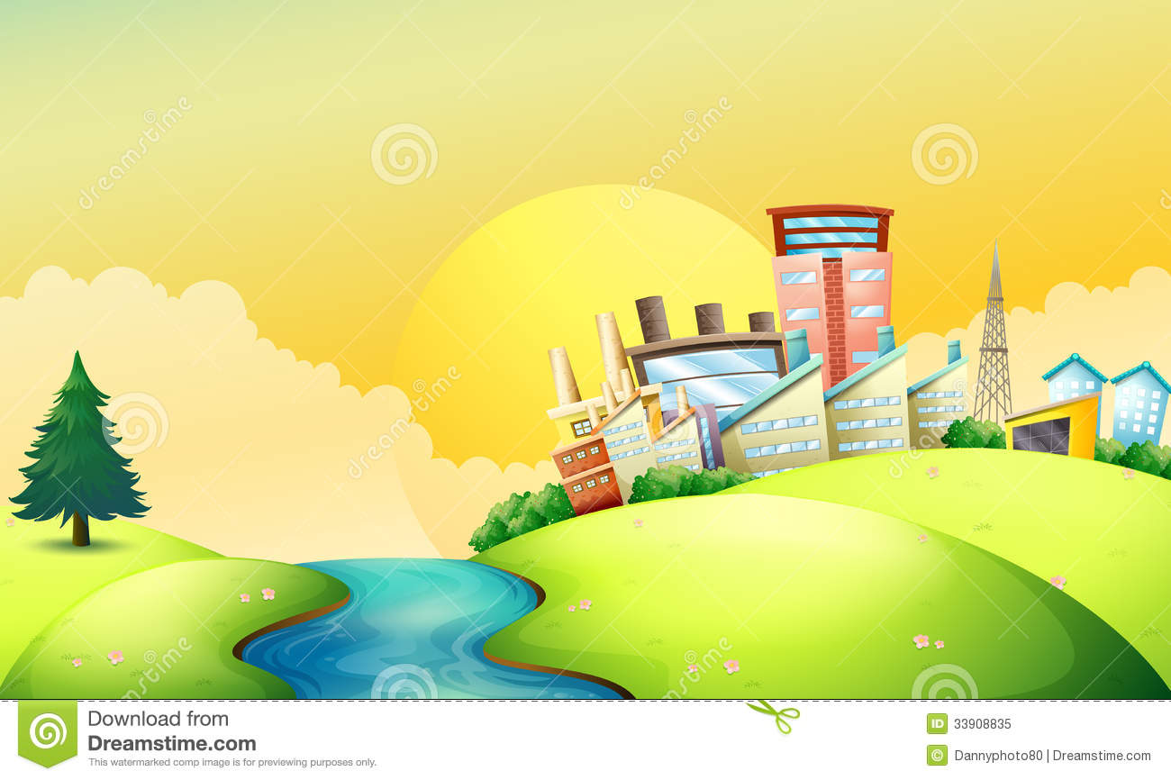 A Flowing River Beside The Factories Royalty Free Stock Photo.