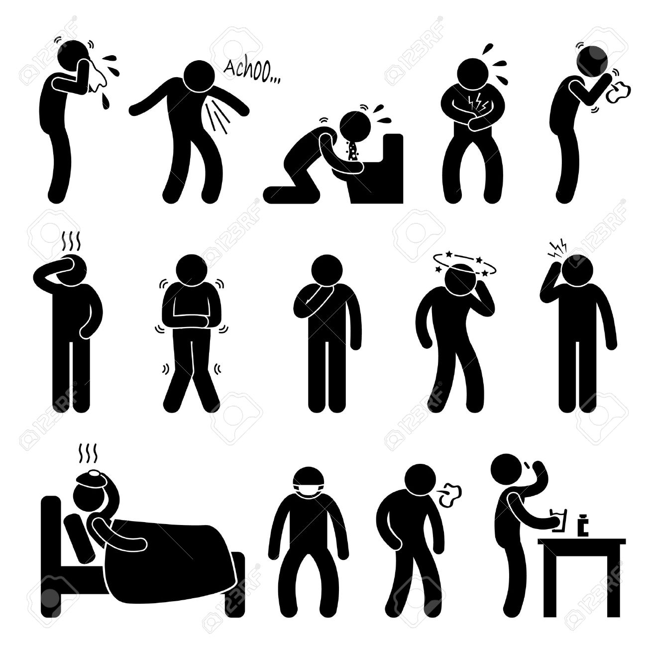 Sick Ill Fever Flu Cold Sneeze Cough Vomit Disease Stick Figure.