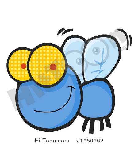 Flies Clipart #1050962: Happy Blue Fly by Hit Toon.