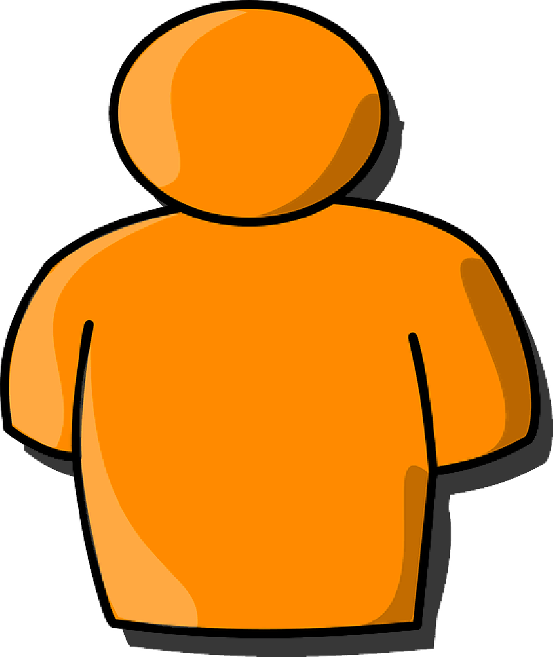 Person outline clipart fluffed up.