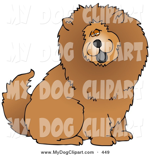 Clip Art of a Huge Fluffy Brown Chow Chow Dog Sticking His Tongue.