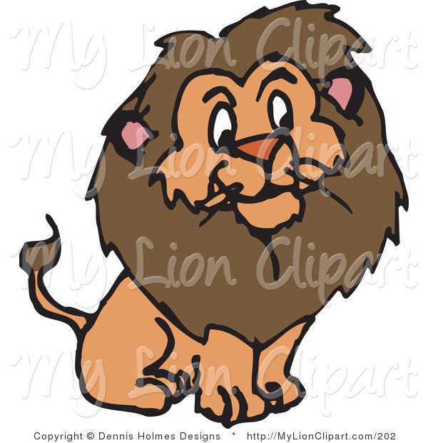 Clipart of a Furry Brown Male Lion with a Big Fluffy Mane by.