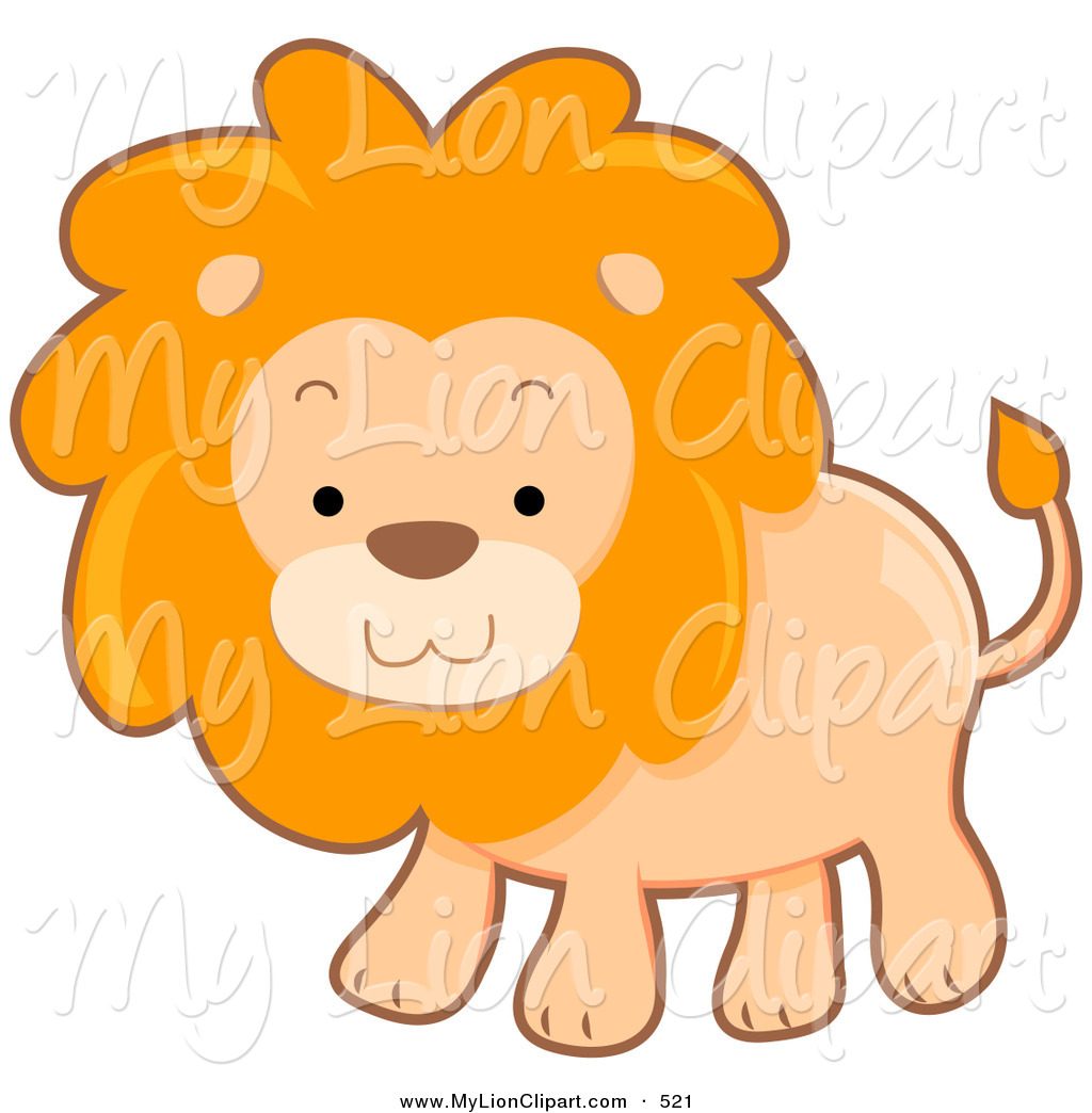 Clipart of a Cute Brown Lion with a Fluffy Mane by BNP Design.