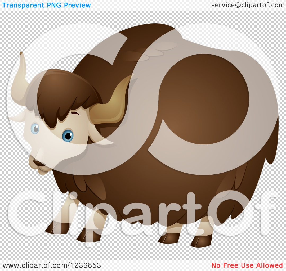 Clipart of a Cute Fluffy Yak.