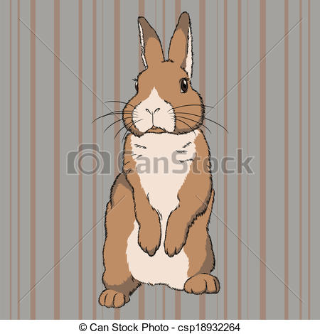 Clip Art Vector of Fluffy brown standing rabbit.