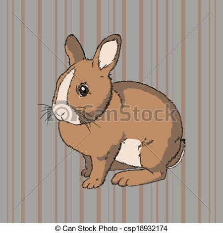 Vectors Illustration of Fluffy brown sitting rabbit.