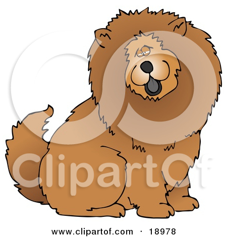 Clipart Illustration of a Cute And Fluffy Brown Chow Chow Dog.