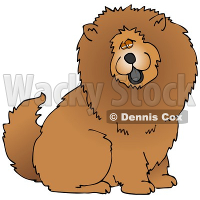 Illustration of a Cute And Fluffy Brown Chow Chow Dog Sticking His.