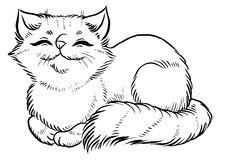 Cute Fluffy White Cat Cartoon Stock Illustrations.
