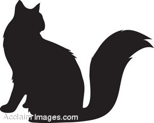 Clip Art of a Fluffy Cat Silhouette.