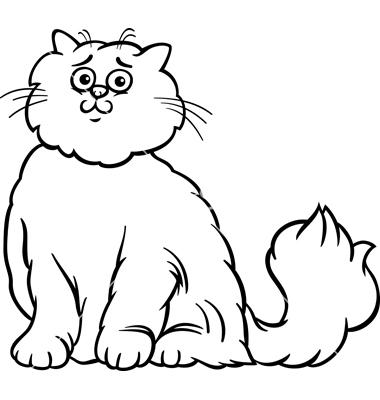 Fluffy cat clip art.