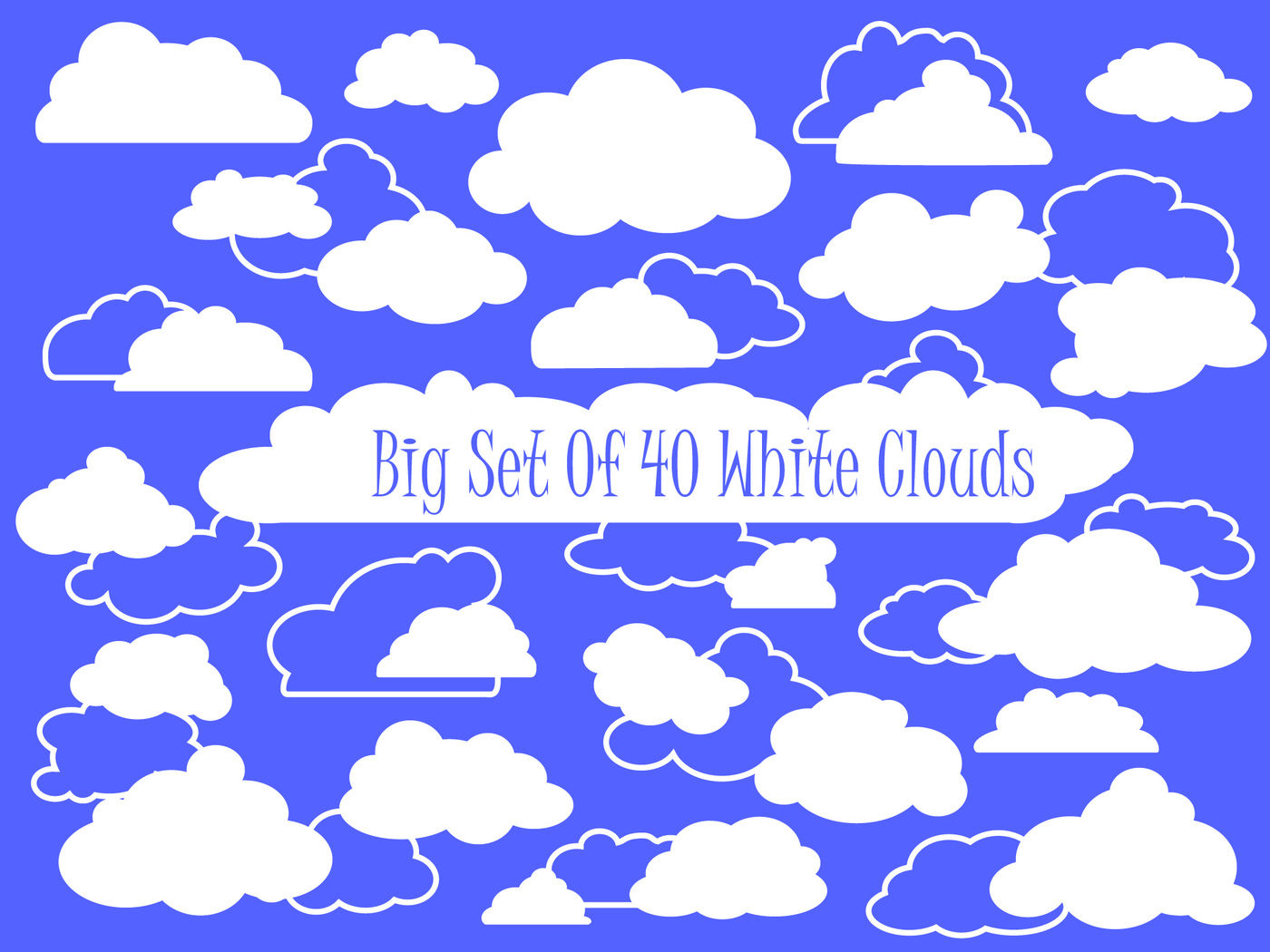 White Fluffy Clouds Vector Clipart By Rabbit And Pencil.