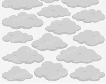 FLUFFY CLOUDS Clip Art Cloud Clip Art Set / Instant by Paperbored.