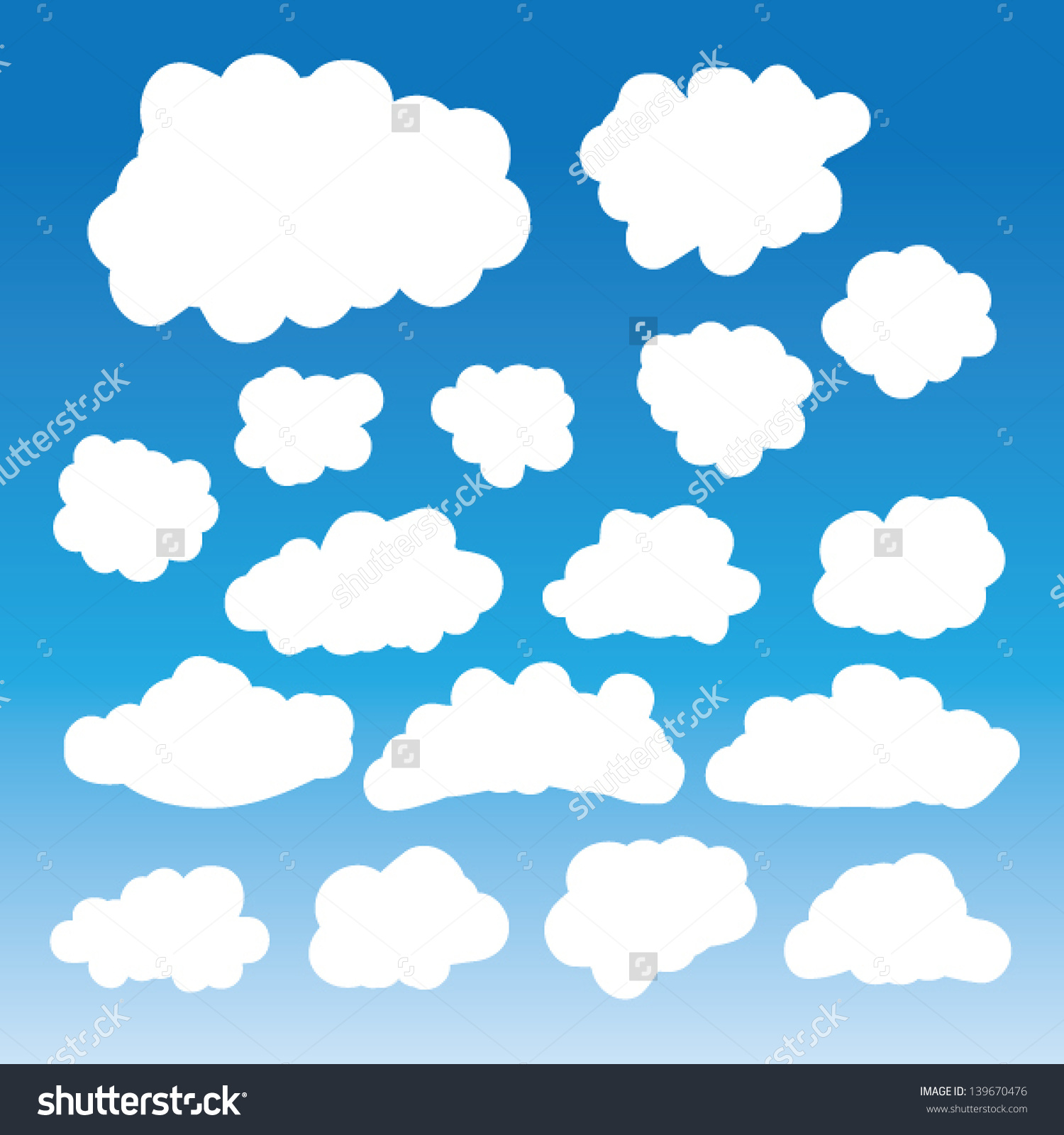Fluffy Clouds Vector Collection Stylized Cloud Stock Vector.