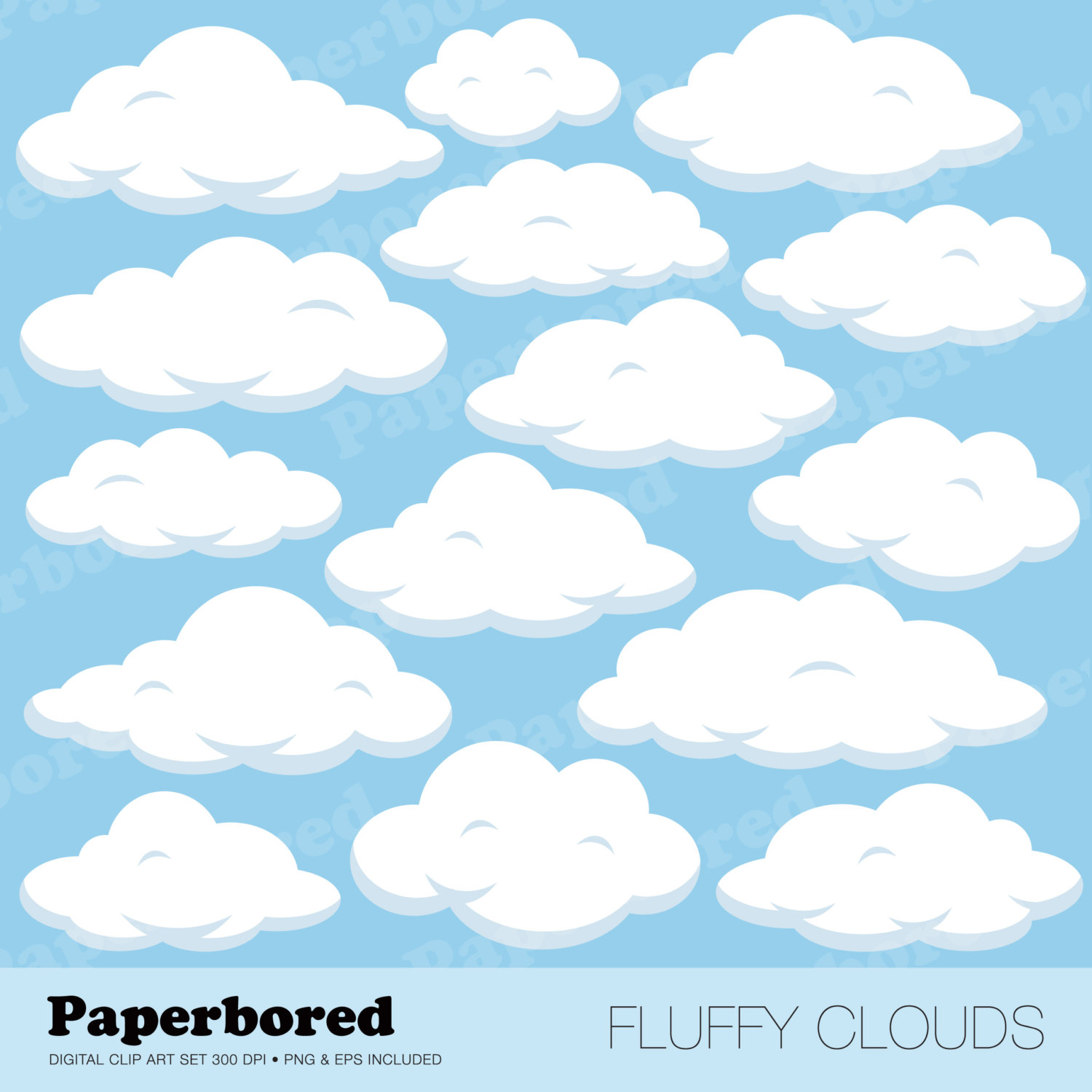 FLUFFY CLOUDS Clip Art Cloud Clip Art Set / Instant Download.