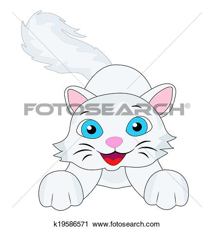 Clipart of merry kitten with a fluffy tail k19586571.