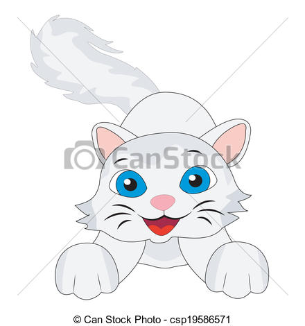 Vectors Illustration of merry kitten with a fluffy tail, vector.