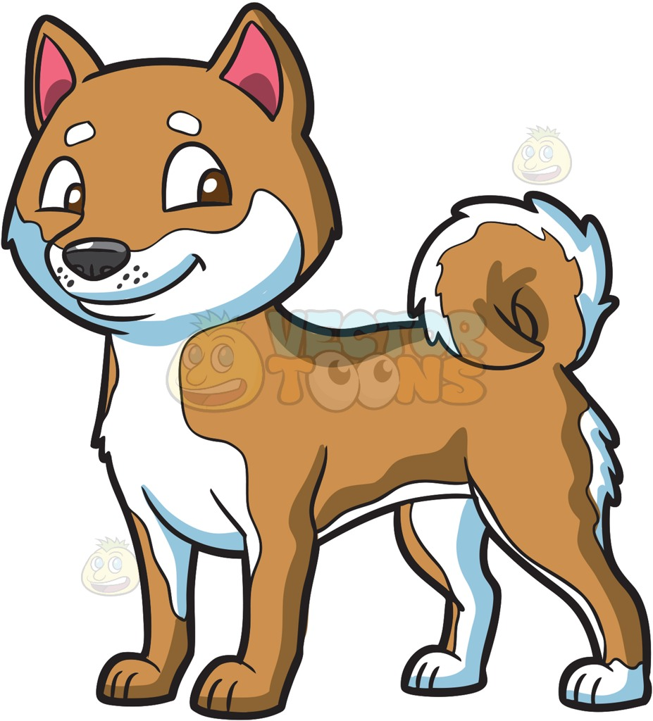 A Dog With Fluffy Tail Cartoon Clipart.