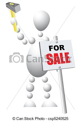Clipart Vector of Man mounts a sign announcing the sale of.