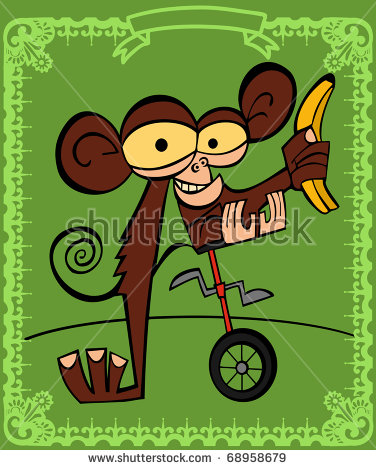 Small Monkey Mounts Unicycle With A Banana In The Hand, In The.