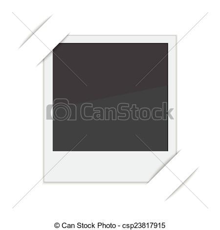 Vector Clip Art of Polaroid photo frame with mounts on white.