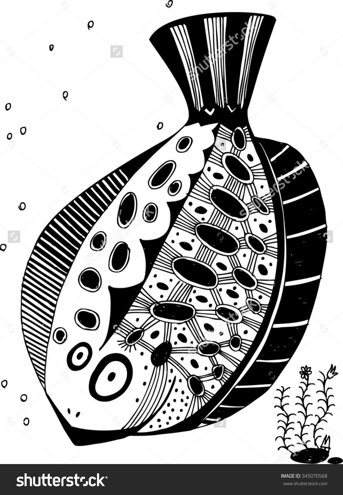 Vector Illustration Hand Drawn Fish Seaweed Stock Vector 345070568.