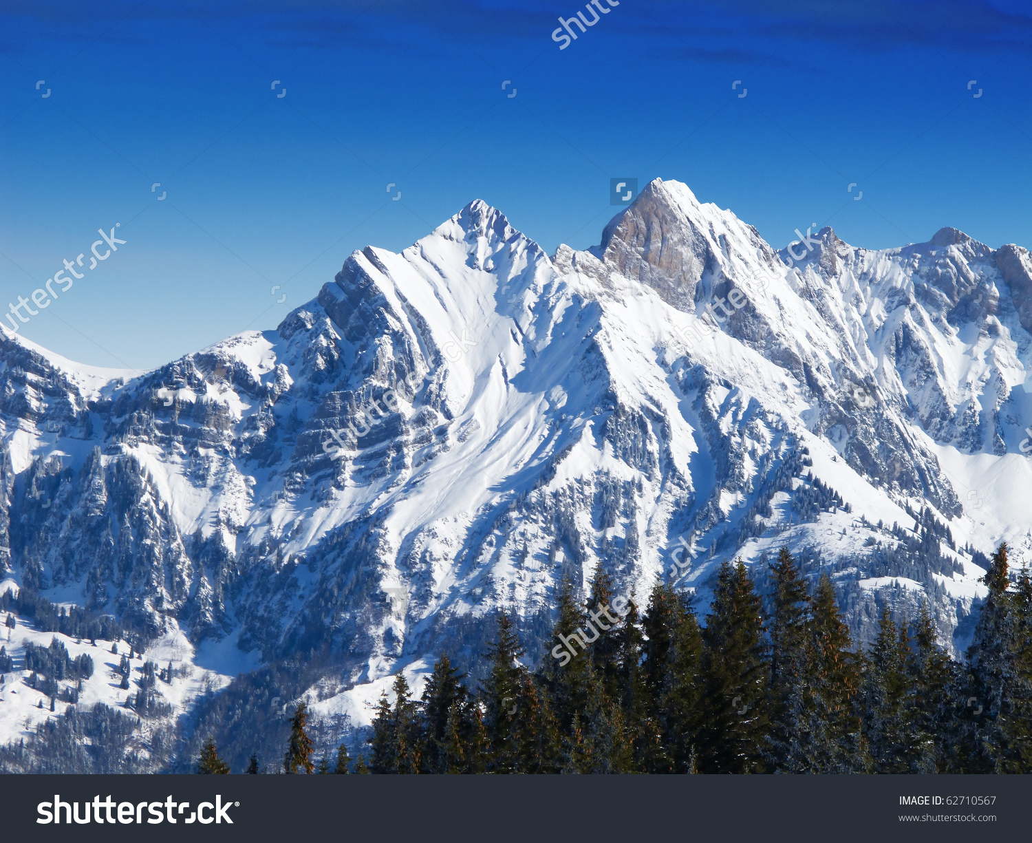 Winter Swiss Alps Flumserberg Stgallen Switzerland Stock Photo.