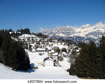 Stock Photo of Small village in alps k2077604.