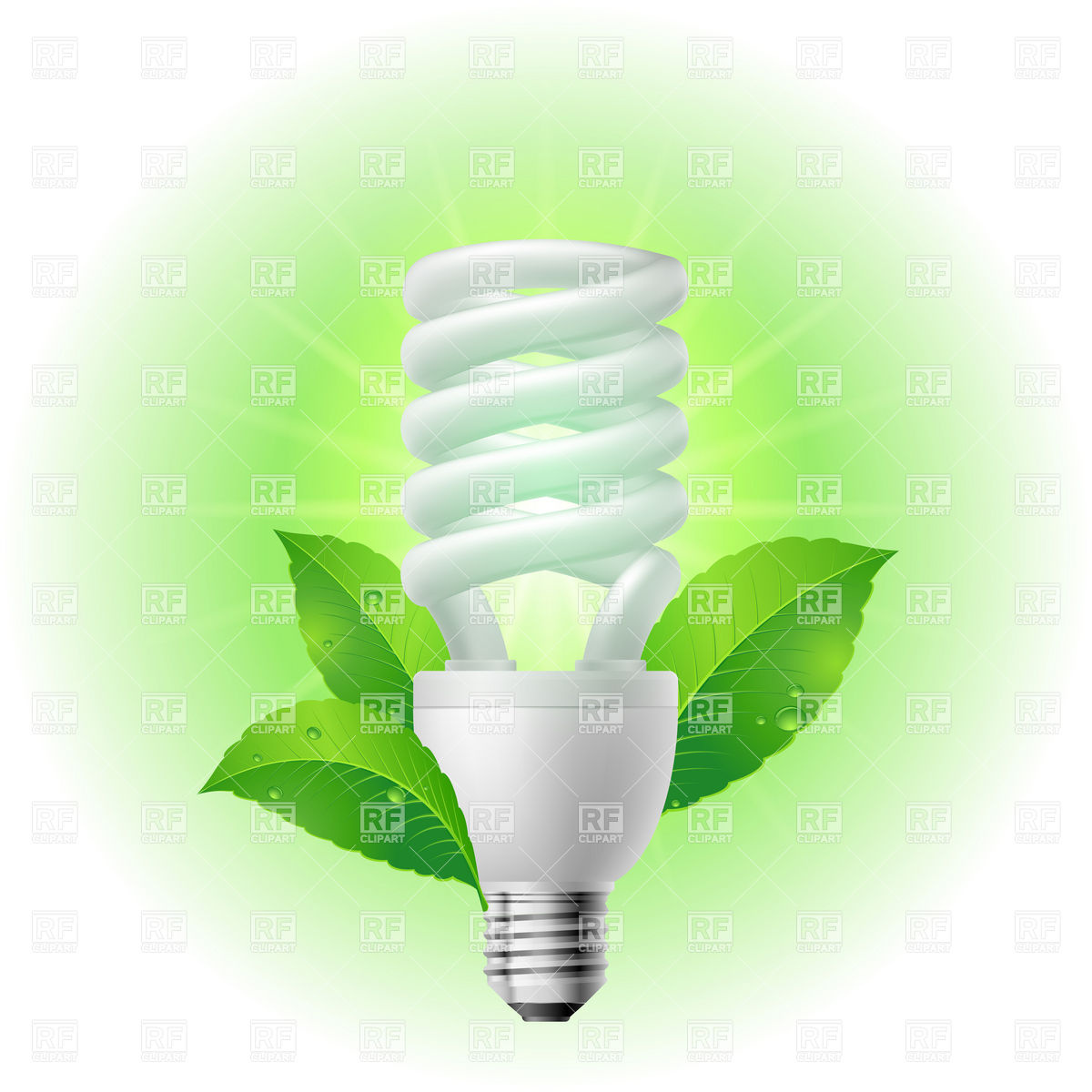 Compact Fluorescent Light Bulb Clipart.