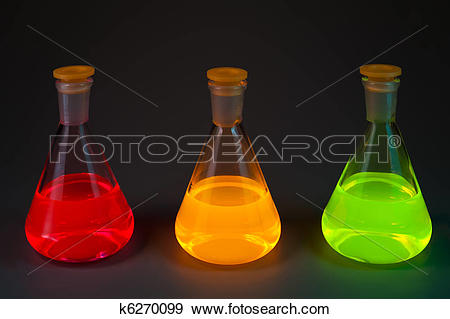 Stock Photograph of Fluorescence in three flasks k6270099.