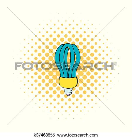 Clipart of Fluorescence lamp icon, comics style k37468855.