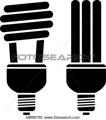 Clipart of vector fluorescent compact bulbs k8695755.