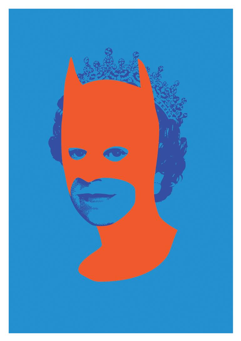 Saatchi Art: Rich Enough to be Batman (Fluorescent Orange and Blue.