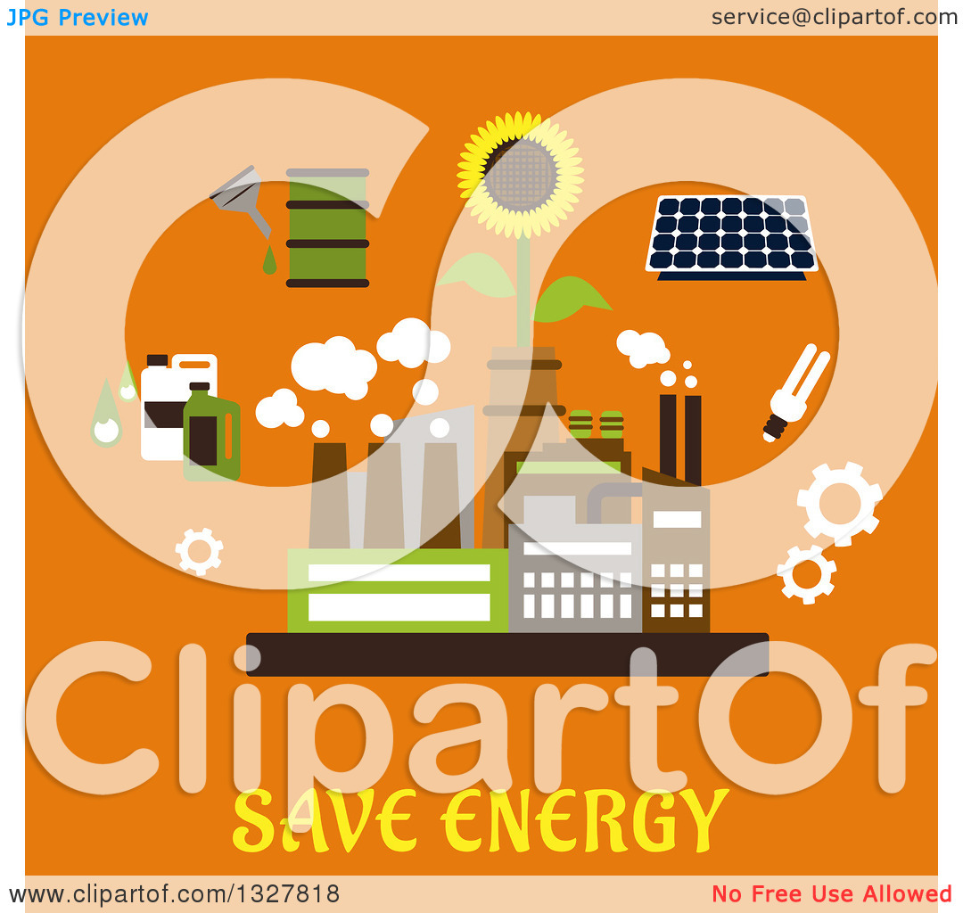 Clipart of a Flat Design Factory Plant Surrounded by Solar Panel.