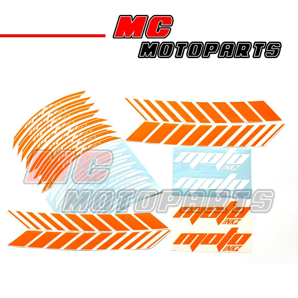 """Fluorescent Orange 17"""" Wheel Rim Stickers Decal GP2 Fit KTM."""