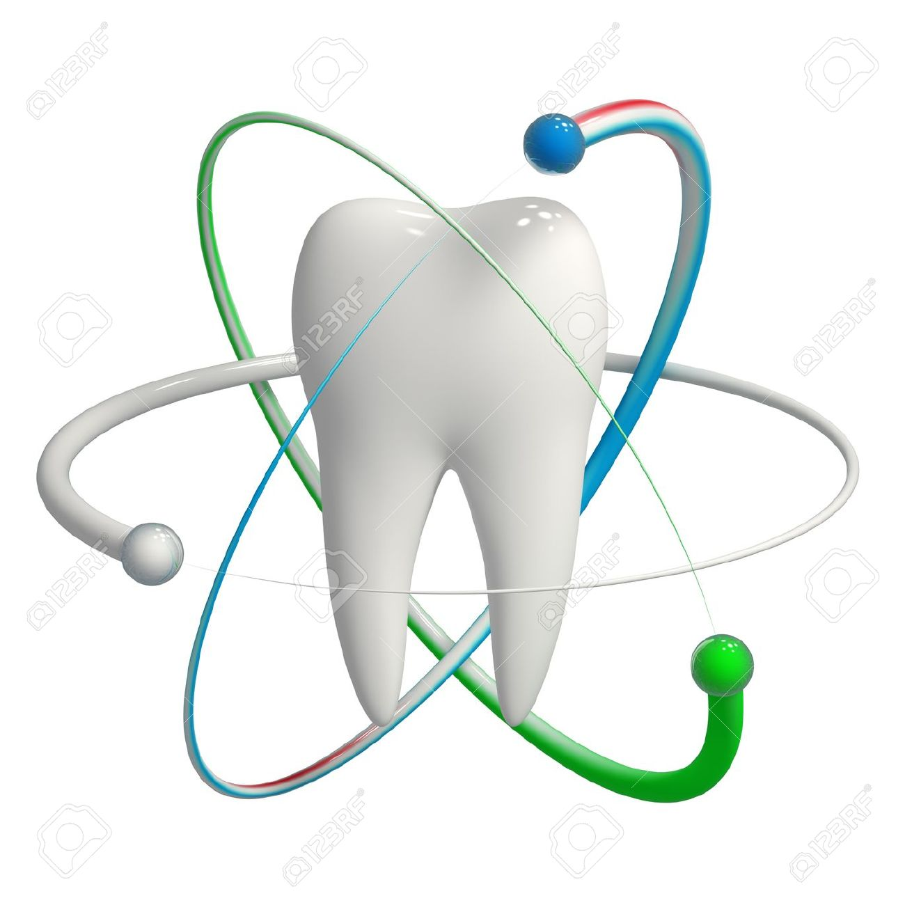 Herbal And Fluoride Protection Icon Of A Tooth Stock Photo.