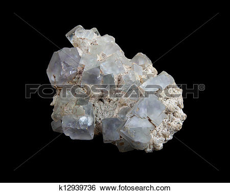 Stock Images of White calcite crystals on purple fluorite.