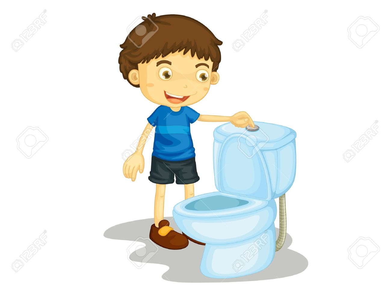 Clipart flush toilet.