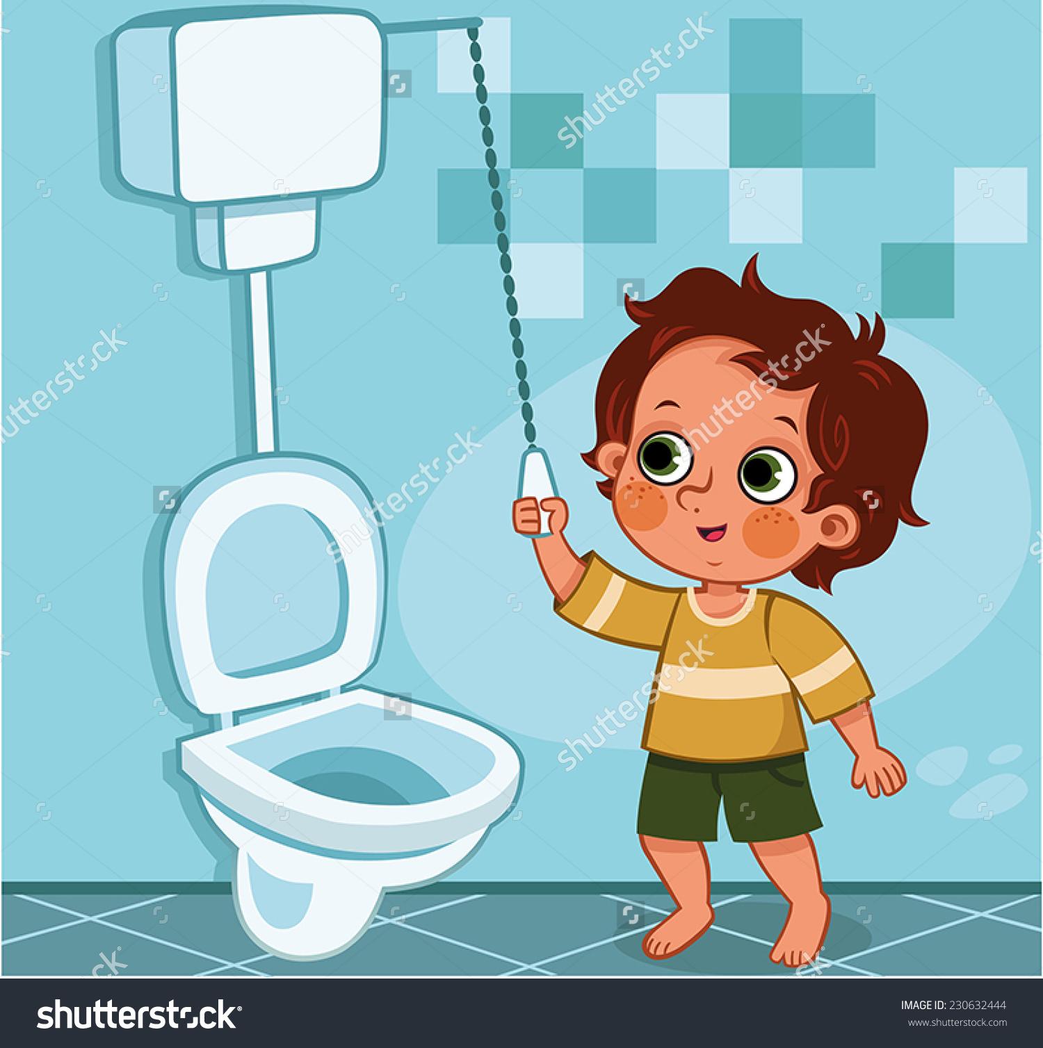 Bathroom Art Flush Toilet: Flushing Clipart