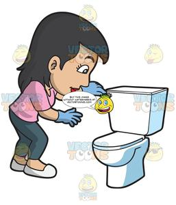A Woman Flushing The Toilet.