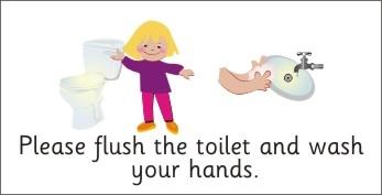 Child flushing toilet clipart.