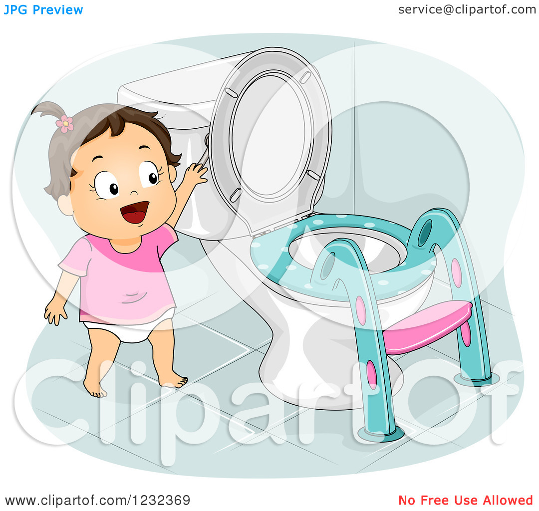 Clipart of a Potty Training Toddler Girl Flushing a Toilet.