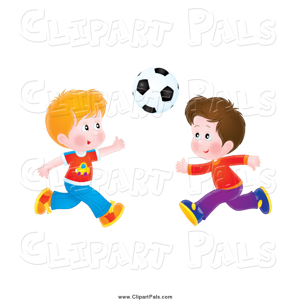 Pal Clipart of Flushed Boys Playing Soccer by Alex Bannykh.