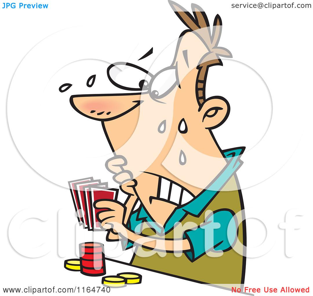 Cartoon of a Flushed Man Playing Poker.