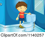 Cartoon Of A Toilet With A Flush Button.