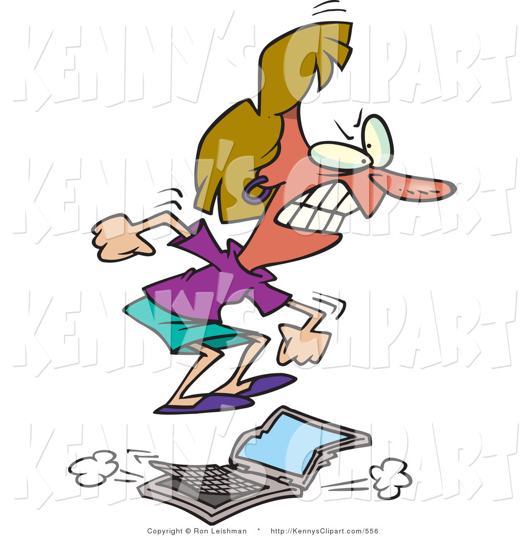 Clip Art of a Flustered Woman Jumping on a Laptop Computer and.