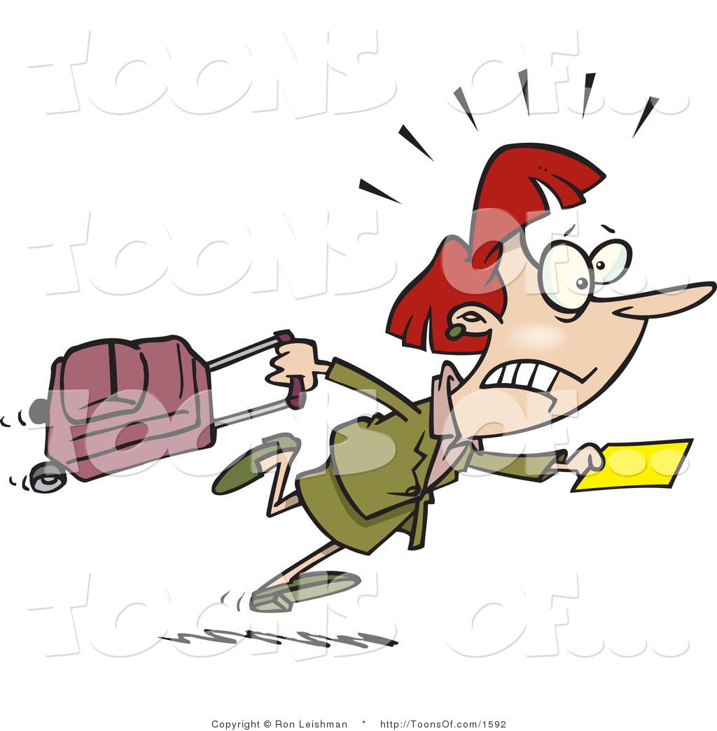 Cartoon of a Flustered Woman in a Hurry to Catch Her Flight by Ron.