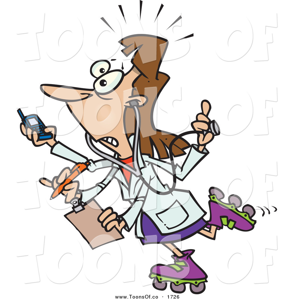 Vector Cartoon of a Female Doctor, Flustered, with 4 Arms Multi.